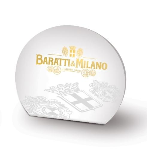 Baratti & Milano Bulk Small Gianduiotti Amenity Favor contains 2 Gianduiotti chocolate candies. Packaged in a lovely elegant white oval package with whimsical depictions of Baratti & Milano logo and Royal crests in gold on a white background.