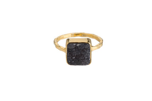 BLACK DRUZY RING (3 SHAPES)