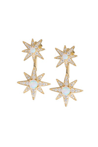 OPAL DOUBLE STAR EARRINGS