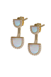 OPAL DOUBLE U SHAPE EARRINGS