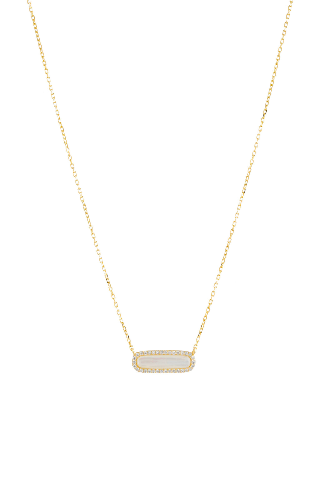 MOP BAR CZ NECKLACE