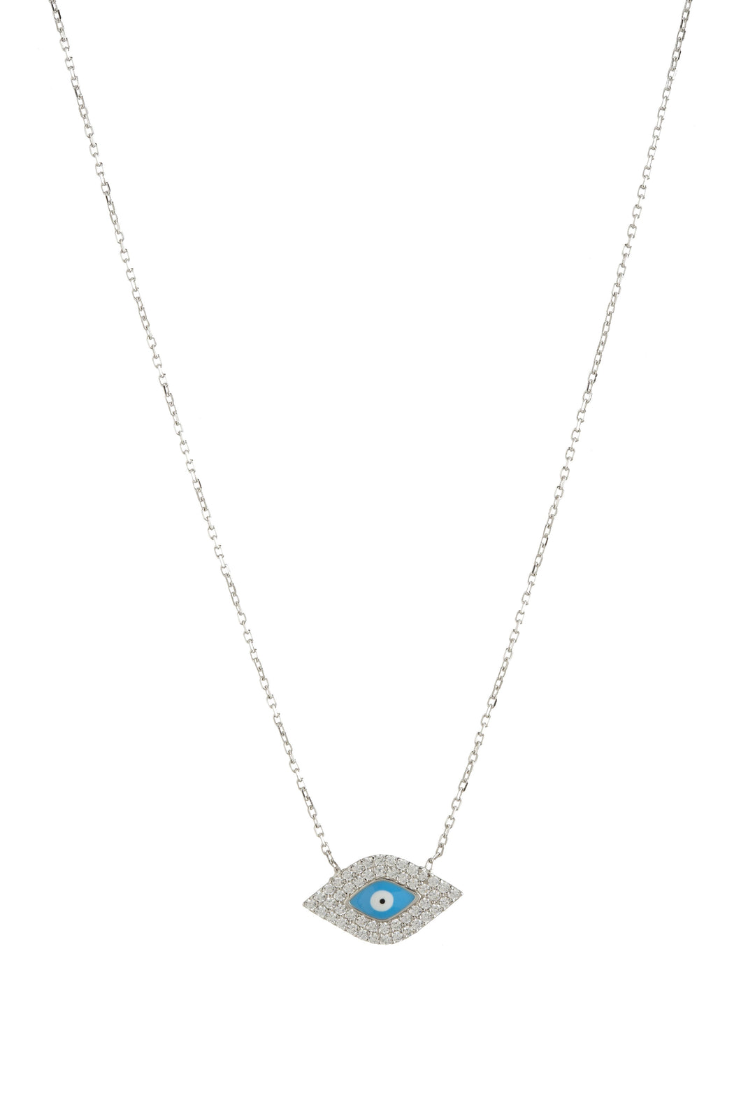 EVIL EYE CZ LG OVAL/TURQ NECKLACE