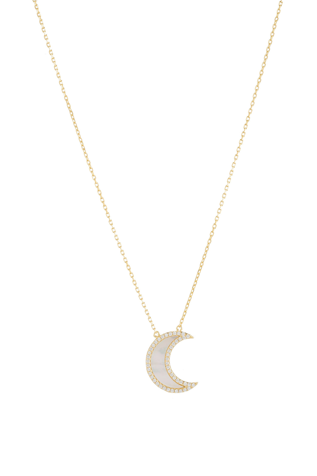 MOP MOON CZ NECKLACE