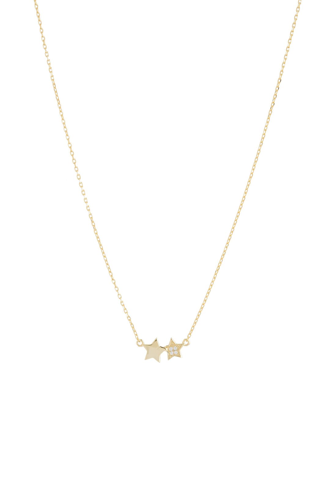 DOUBLE STAR CZ NECKLACE