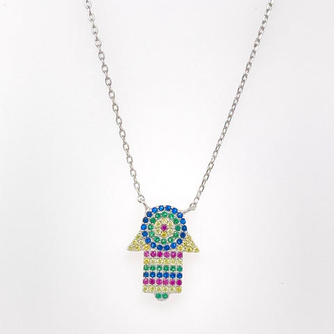 HAMSA EVIL EYE RAINBOW NECKLACE