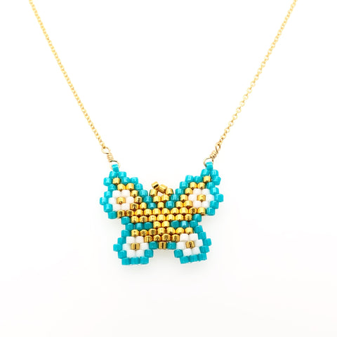 Seed Bead Blue Butterfly Necklace