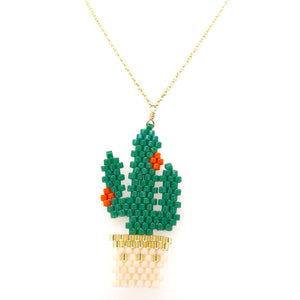 Seed Bead Cactus Necklace