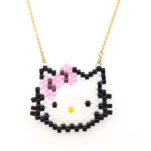 Seed Bead Hello Kitty Necklace