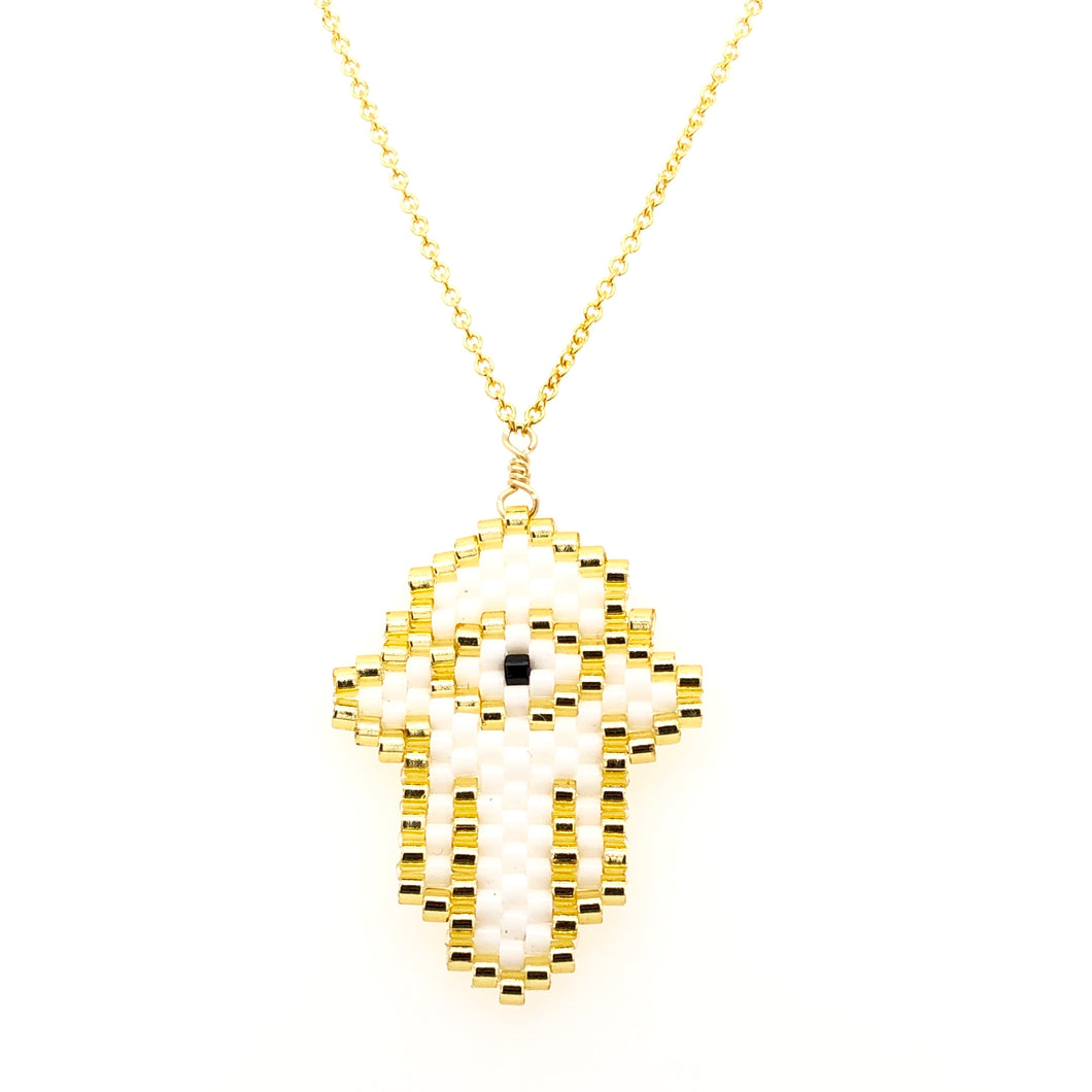 Seed Bead White Hamsa with Black Eye Necklace