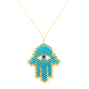 Seed Bead Hamsa Turquoise Large Necklace