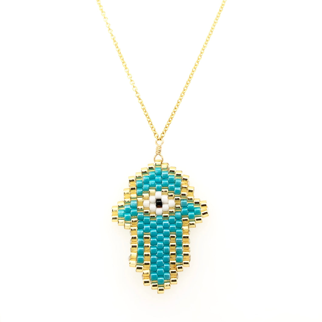 Seed Bead Hamsa Turquoise small Necklace