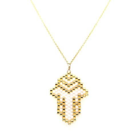 Seed Bead Hamsa White and Gold Necklace