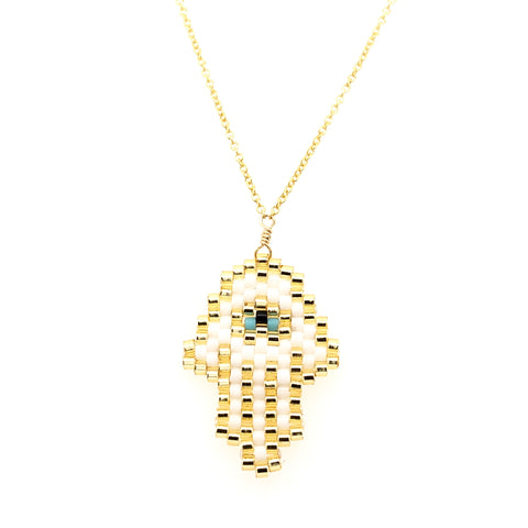 Seed Bead White Hamsa with Turquoise Eye Necklace