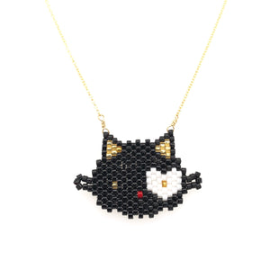 Seed Bead Black Hello Kitty Necklace