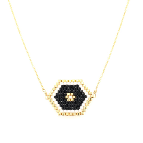 Seed Bead Tribal Hexagon Black Necklace