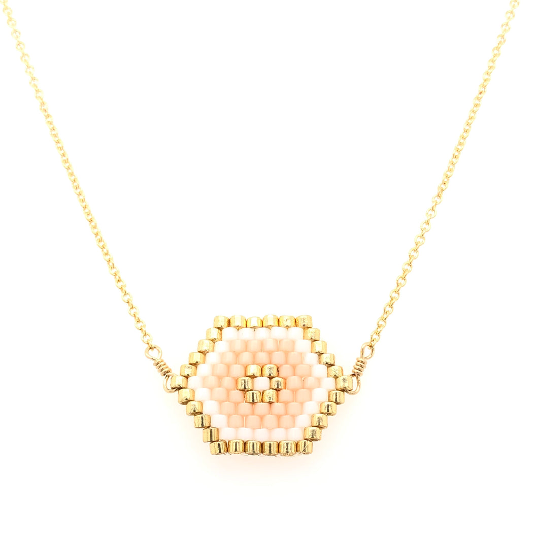 Seed Bead Hexagon Pink Necklace