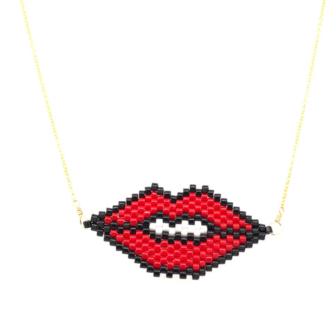 Seed Bead Lips Necklace