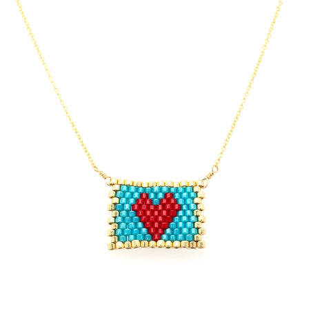 Seed Bead Love Letter Necklace