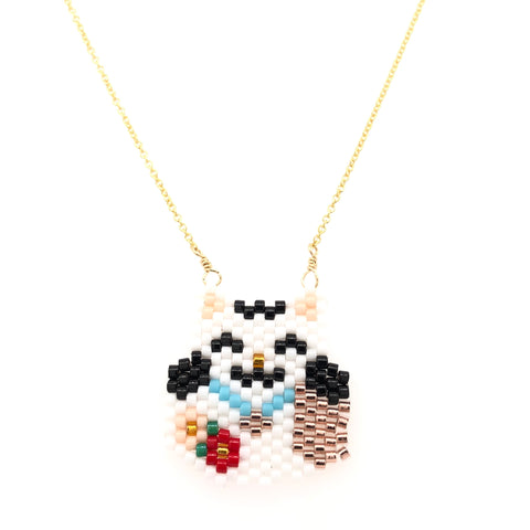 Seed Bead Maneki Neko Necklace