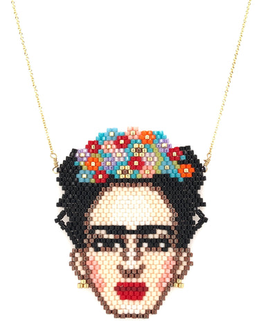 Seed Bead Frida Kahlo Necklace