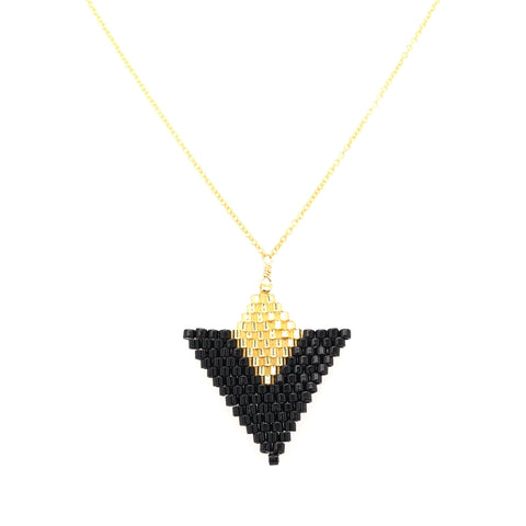 Seed Bead Triangle Black and Gold Necklace