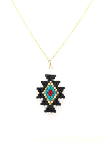 Seed Bead Tribal Diamond Large Necklace