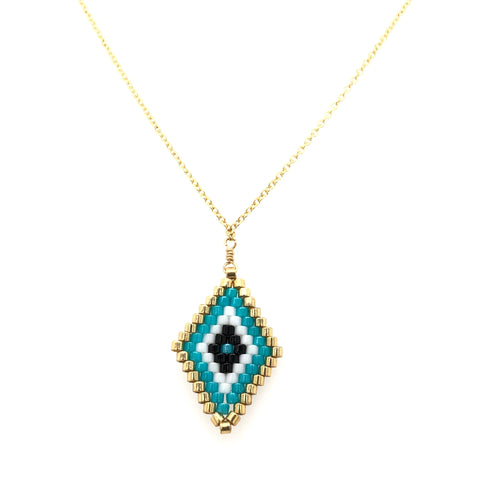 Seed Bead Tribal Diamond Turquoise Necklace
