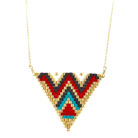 Seed Bead Tribal Triangle Necklace