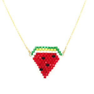 Seed Bead Watermelon Necklace