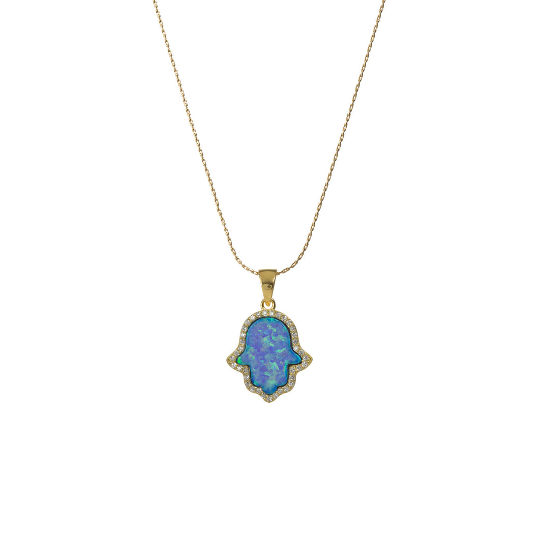 HAND CZ PAVE NECKLACE - LARGE PENDANT