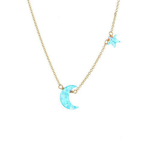 MOON (BLUE) + STAR NECKLACE