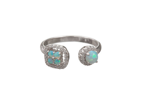 OPAL DOUBLE FLOWER RING