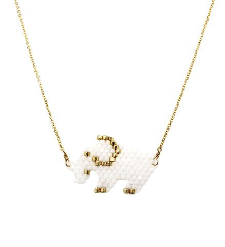 Seed Bead White Elephant Necklace