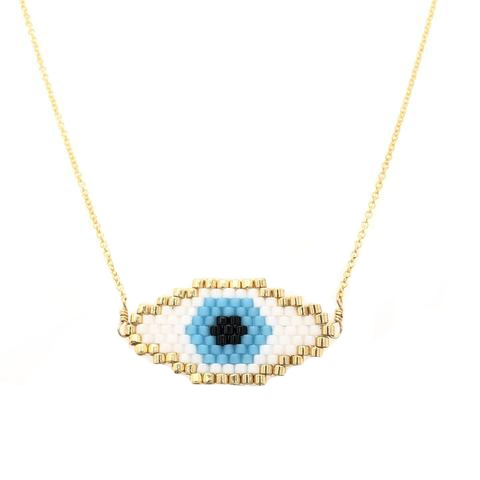 Seed Bead Evil Eye Necklace