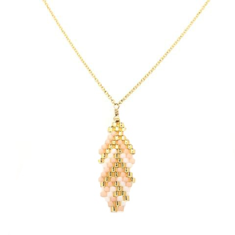 Seed Bead Feather Pink and Gold Necklace