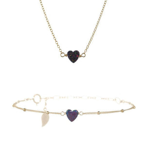 SMALL HAPPY HEART NECKLACE & BRACELET SET