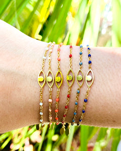 Evil Eye Oval Dotted Bracelet
