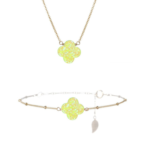 Large Good Luck Clover Necklace & Bracelet Set