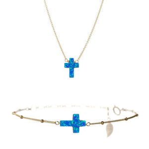 Large Cross Necklace & Bracelet Set