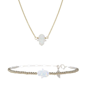 MEDIUM GOOD LUCK HAND NECKLACE & BRACELET SET
