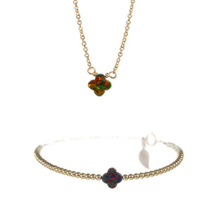MEDIUM GOOD LUCK CLOVER NECKLACE & BRACELET SET