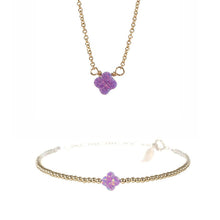 SMALL GOOD LUCK CLOVER NECKLACE & BRACELET SET