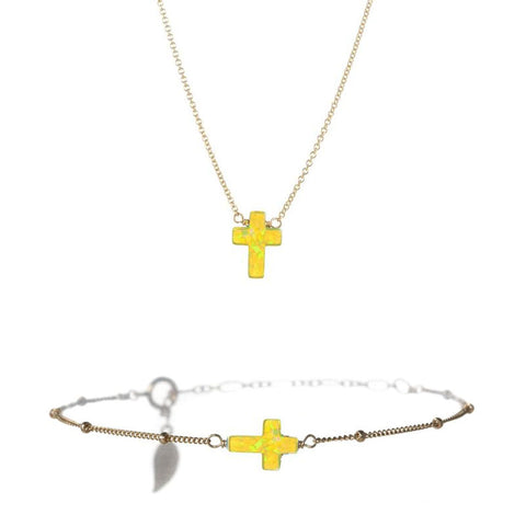 SMALL CROSS NECKLACE & BRACELET SET