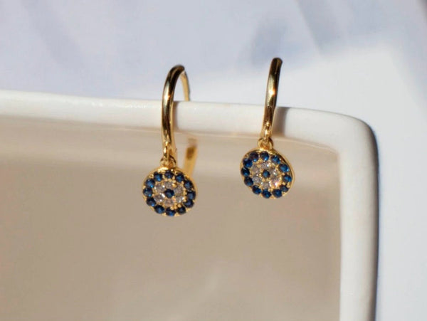 Cubic Zirconia Evil Eye Charm Hoop Earrings (1 PAIR) 925 Sterling Silver or Gold