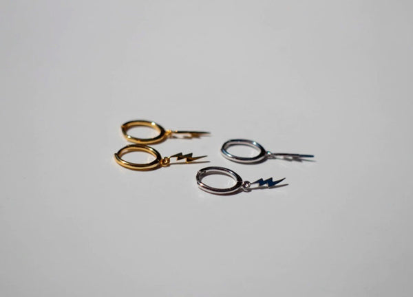 Lightning Bolt Charm Hoop Earrings (1 PAIR) 925 Sterling Silver or Gold