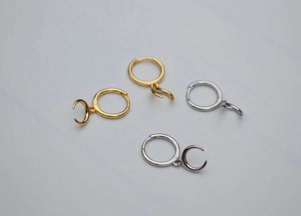 Dainty Moon/Crescent Charm Hoop Earrings (1 PAIR) 925 Sterling Silver or Gold