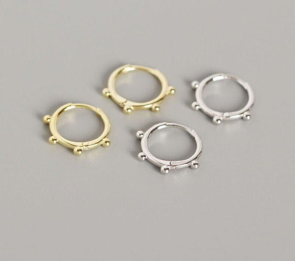 Studded/Beaded Hoop Earrings (1 PAIR) 925 Sterling Silver or Gold