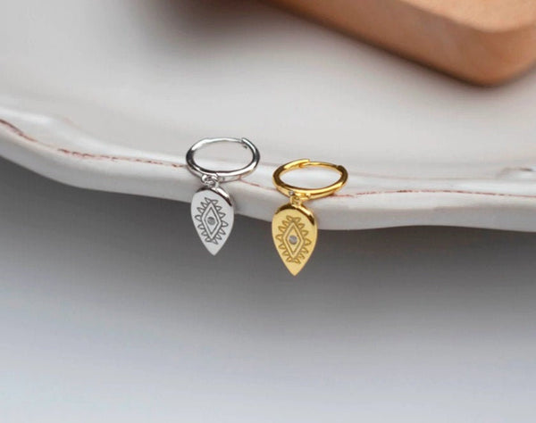 Leaf-Shaped Charm with Cubic Zirconia Hoop Earrings (1 PAIR) 925 Sterling Silver or Gold