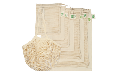 Reusable Farmer's Market Bags from Organic Cotton - 9 Piece Set