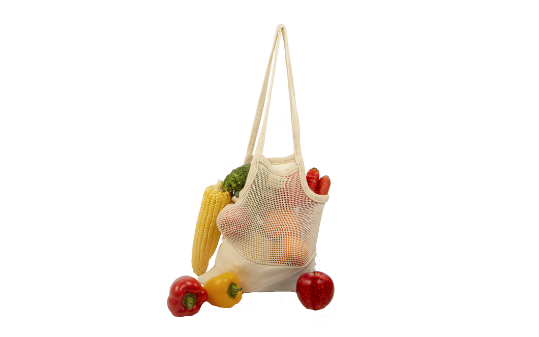 Organic Cotton Mesh & Fabric Tote Bag